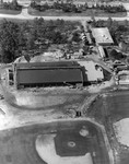 Aerial view of Aquatic Center construction.June 18,1987. Baseball field in the foreground.
