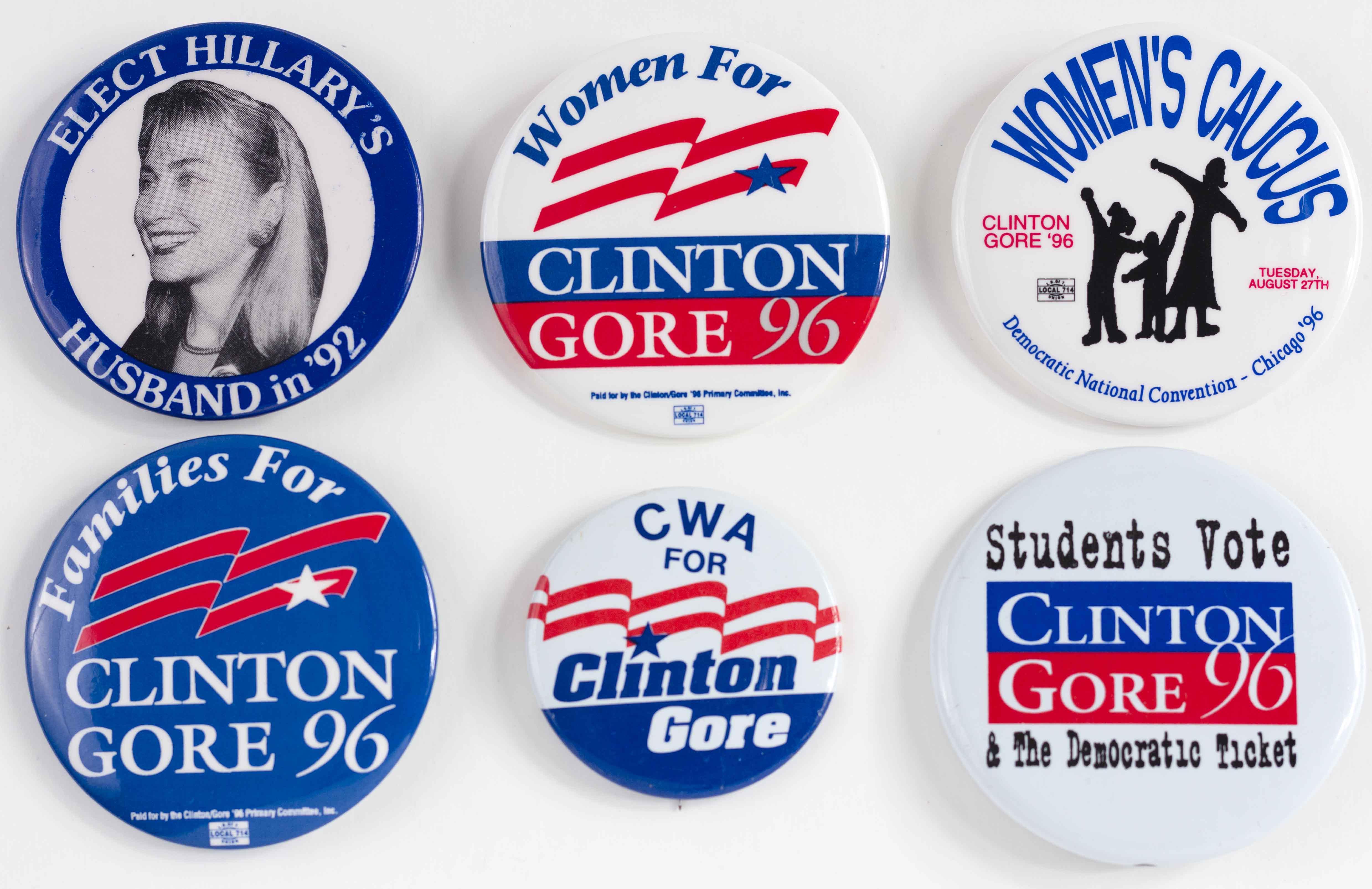 """1996 Bill Clinton Al Gore Votes For Women Rights For Women 3 7//8/"""" Pinback Button"""