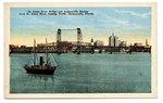 St. Johns River Bridge and Jacksonville Skyline from St. Johns River, looking North, Jacksonville, Florida. 1910-1920