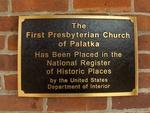 First Presbyterian Church Plaque Palatka, FL