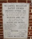 Mt. Carmel Missionary Baptist Church Cornerstone Jacksonville, FL