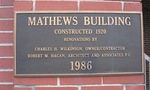 Mathews Building Plaque, Statesboro, GA