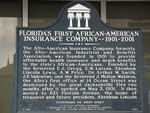 FL's First African-American Insurance Company Marker (Obverse), Jacksonville, FL