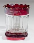 Cup: Glass Souvenir Match and Cigarette Holder, Souvenir of Jacksonville, Jacksonville, Florida; 1900-1910