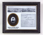 Framed Photo Collage: Robert Joseph Mette (Grandfather) portrait with documents for Funeral Arrangements, Jacksonville, Florida; 1901