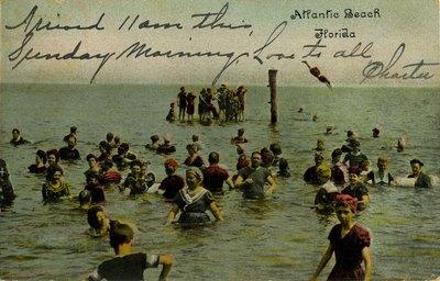 Postcard: Bathers at Atlantic Beach, Florida
