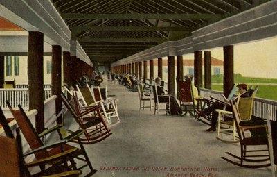 Postcard: Veranda Facing the Ocean, Continental Hotel, Atlantic Beach, Fla