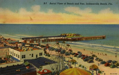 Postcard: Aerial View of Beach and Pier, Jacksonville Beach, Fla