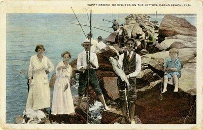 Postcard: Happy Crowd of Fishers on the Jetties, Pablo Beach, Fla