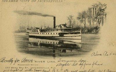 "Postcard: Steamer ""City of Jacksonville"" Clyde St. Johns River Line, Jacksonville, Florida"