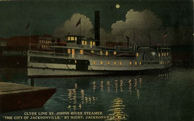 "Postcard: Clyde Line St. Johns River Steamer, ""The City of Jacksonville."" By Night. Jacksonville, Florida"