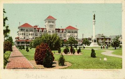 Postcard: Hemming Park and Windsor Hotel, Jacksonville, Fla