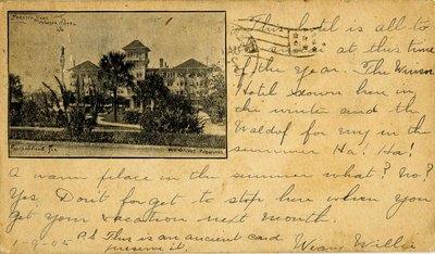 Postcard: Forsyth Park and the Windsor Hotel, Jacksonville, Florida