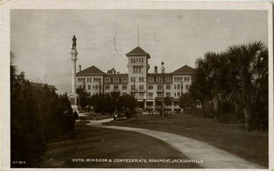 Postcard: Hotel Windsor and Confederate Monument, Jacksonville, Florida
