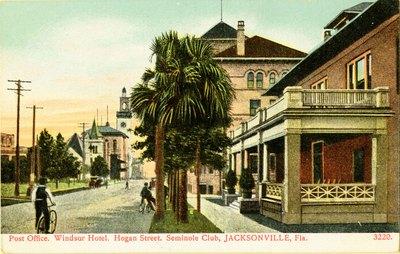 Postcard: Post Office, Windsor Hotel, Hogan Street, Seminole Club, Jacksonville, Florida; 1900's