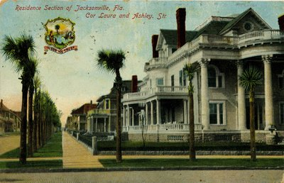 Postcard: Residence Section of Jacksonville, Florida Corner of Laura and Ashley Streets