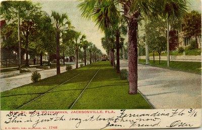 Postcard: Main Street Above Waterworks, Jacksonville, Florida