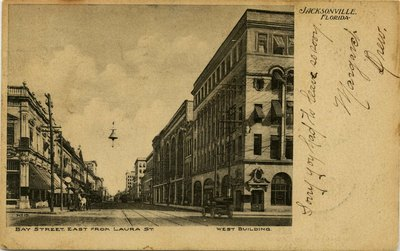 Postcard: Bay Street, East from Laura Street., Jacksonville, Florida