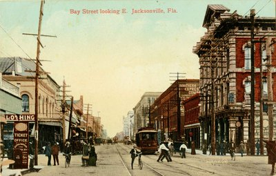 Postcard: Bay Street looking E. Jacksonville, Fla. 1900's