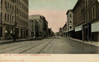 Postcard: Bay Street from Ocean Street, Jacksonville, Florida; 1900's