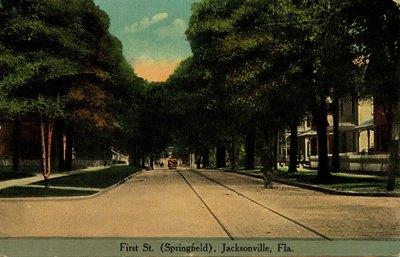 Postcard: First Street (Springfield), Jacksonville, Florida