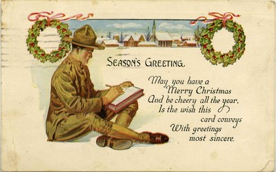 Postcard: Season's Greetings, with Uniformed Soldier, Jacksonville, Florida