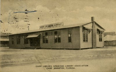 Postcard: Camp Library, American Library Association, Camp Johnston, Jacksonville, Florida