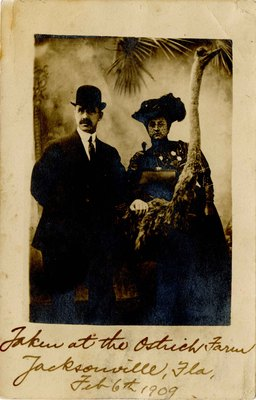 Postcard: Portrait of a Couple with a Taxidermied Ostrich, Jacksonville, Florida