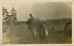 Postcard: Man riding horse pulling a cart, Jacksonville, Florida 1915