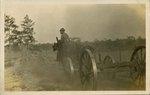 Postcard: Man riding horse pulling a cart, Jacksonville, Florida 1915