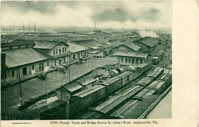 Postcard: Freight Yards and Bridge Across St. Johns River, Jacksonville, Florida; 1900's