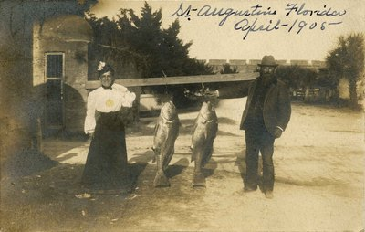 Postcard: Couple with Fishing Catch, St. Augustine, Florida