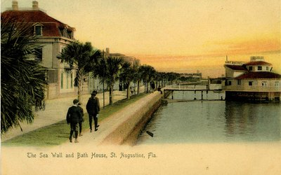 Postcard: The Sea Wall and Bath House, St. Augustine, Florida;