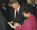 Photograph of Bill Clinton and Dr. Edna L. Saffy
